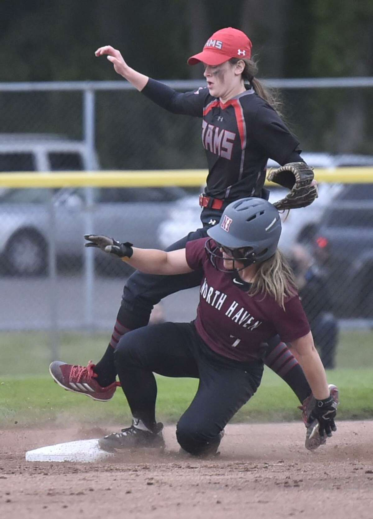 West Haven, Connecticut - Friday, May 24, 2019: North Haven H.S. vs. Cheshire H.S. during the SCC softball tournament championship game Friday evening at Biondi Field at West Haven H.S. Cheshire H.S. defeated North Haven H.S. 3-2.