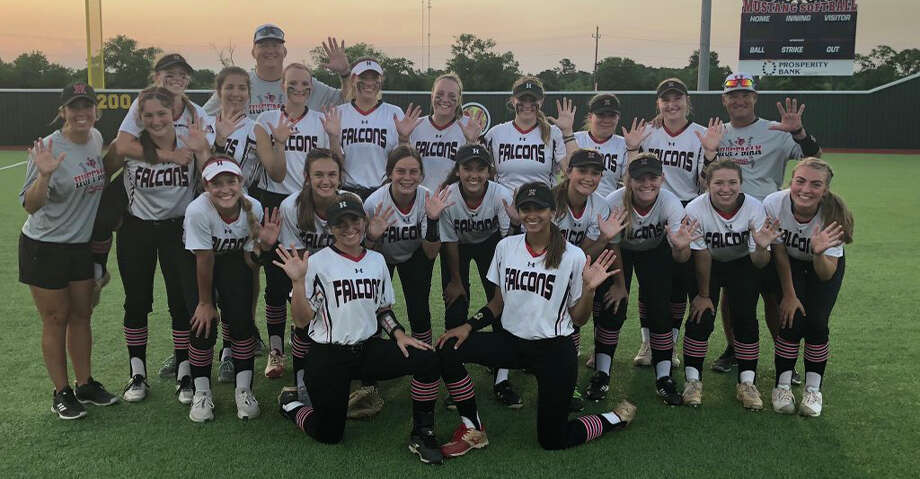 The Hargrave Lady Falcon softball team poses celebratorily after sweeping Lorena in the regional semifinals Photo: Hargrave Softball Twitter