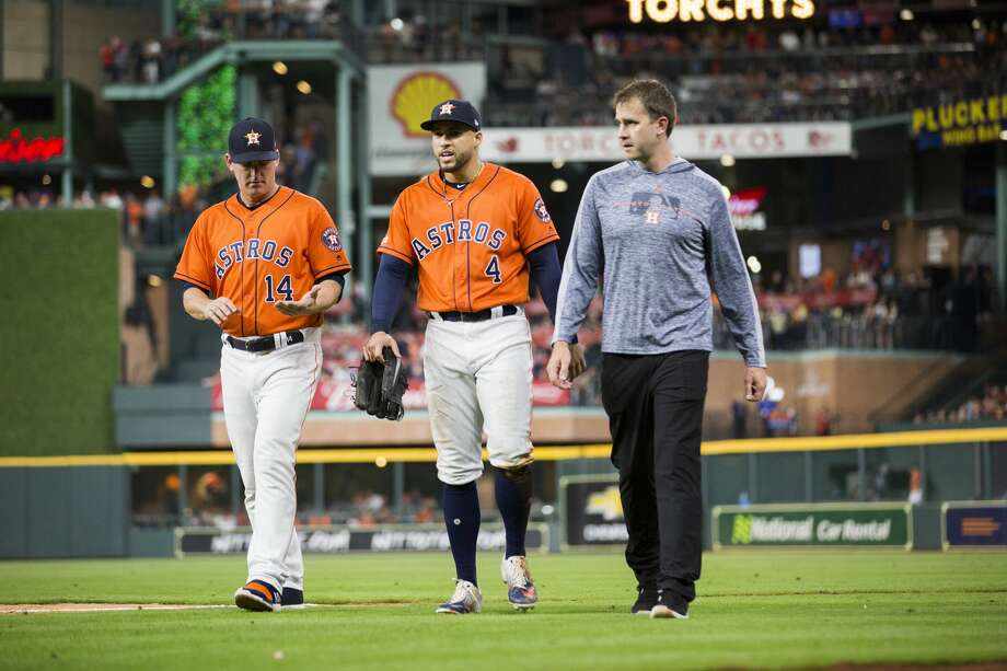 PHOTOS: 2019 Astros game-by-game  Houston Astros center fielder George Springer (4) returns to the dugout with an injury during a game against the Boston Red Sox on Friday, May 24, 2019, in Houston. >>>See how the Astros have fared so far this season ...  Photo: Marie D. De Jesús/Staff Photographer