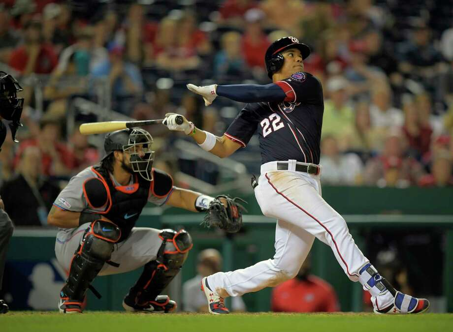 Nationals left fielder Juan Soto hits a go-ahead three-run home run during the bottom of the eighth inning Friday night against the Marlins at Nationals Park in Washington, D.C. Photo: Washington Post Photo By John McDonnell / The Washington Post