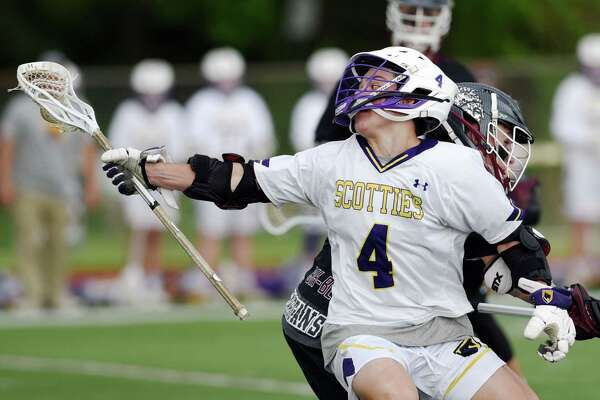 Ballston Spa's attack Lucas Bennice runs down the field with the ball during the Class B boys' lacrosse final on Friday, May 24, 2019 at Columbia High School in East Greenbush, NY. (Phoebe Sheehan/Times Union)
