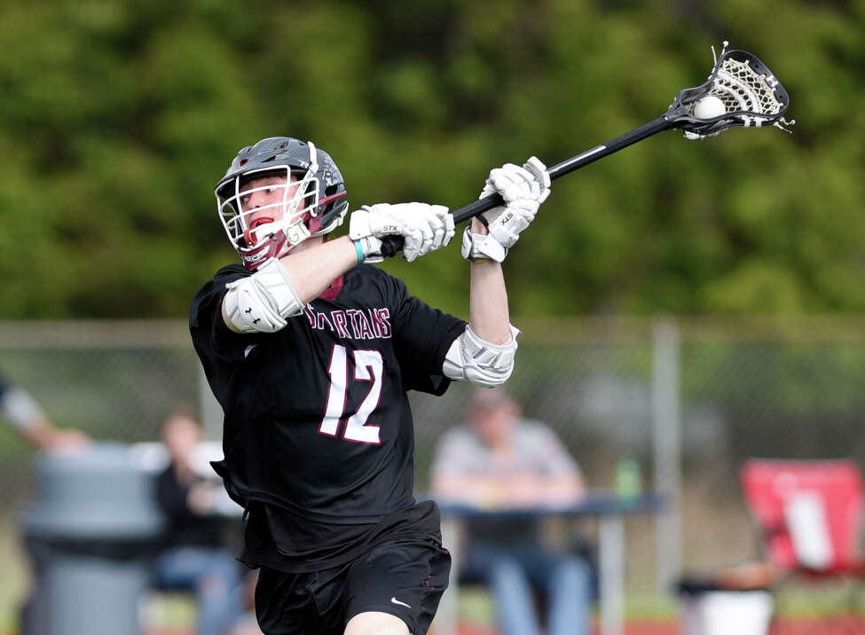 Burnt Hills midfielder Gordy Adams take a shot at the goal during the Class B boys' lacrosse final on Friday, May 24, 2019 at Columbia High School in East Greenbush, NY. (Phoebe Sheehan/Times Union)