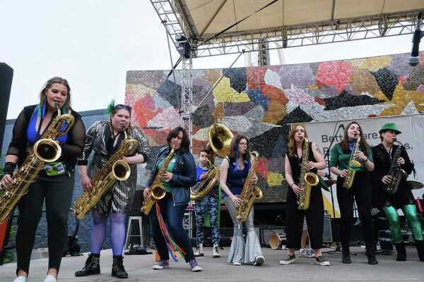The Filthy FemCorps perform during the 48th annual Northwest Folklife Festival at Seattle Center, Friday, May 24, 2019. The festival will continue through Memorial Day weekend.