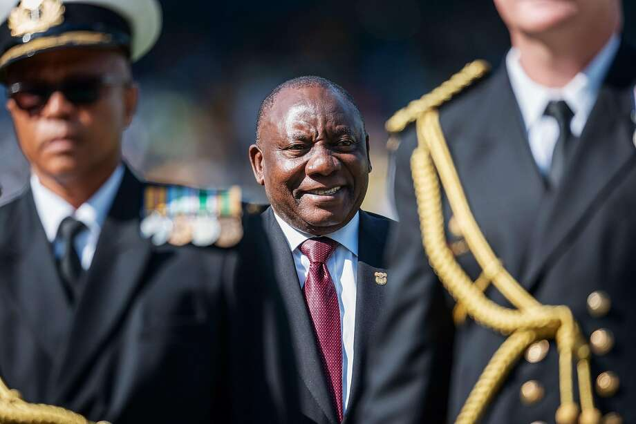 President Cyril Ramaphosa reviews Army troops during his inauguration ceremony in Pretoria, South Africa. Photo: Michele Spatari / AFP / Getty Images