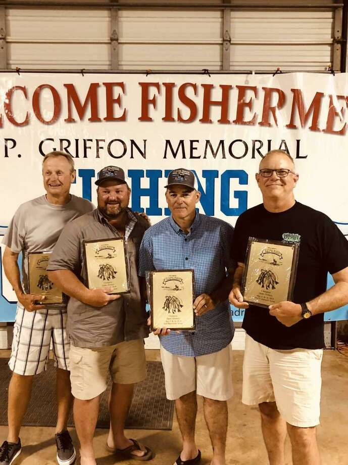 Winner of the open division of the 32nd annual J.P. Griffon fishing tournament was the El Chasin Bait team. Members (left to right) are Pat Johnson, Bob Ducote, Bart Fox and Craig Schulz. Photo: Submitted Photo