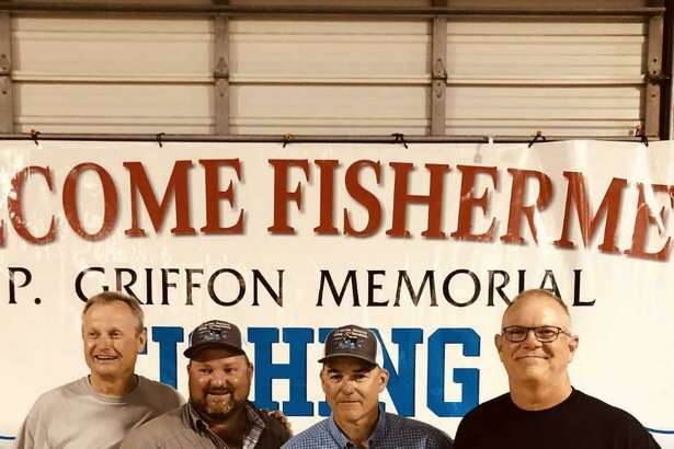 Winner of the open division of the 32nd annual J.P. Griffon fishing tournament was the El Chasin Bait team. Members (left to right) are Pat Johnson, Bob Ducote, Bart Fox and Craig Schulz.