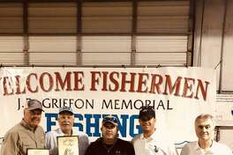 Winner of the guided division of the 32nd annual J.P. Griffon fishing tournament was the Big Red Machine. Team members (left to right) are Jim Grimsrud, Art Lowery, Dennis Walker (guide), Hunter Tegeler and Ray Fournier.