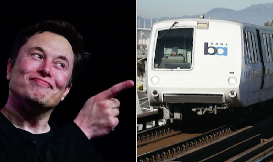Tesla and Space X CEO Elon Musk and a BART train. Photo: Frederic J. Brown/AFP/Getty Images And Paul Chinn / The Chronicle