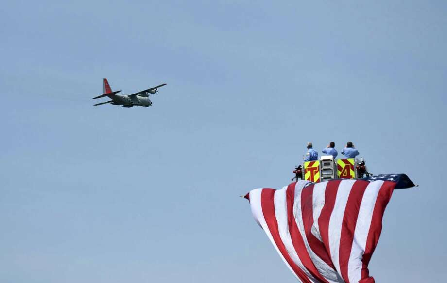 The C130 flyover during the Gerald B.H. Solomon Saratoga National Cemetery 20th Annual Memorial Day Ceremony on Saturday, May 25, 2019 at Saratoga National Cemetery in Schuylerville, NY. (Phoebe Sheehan/Times Union) Photo: Phoebe Sheehan / 20047028A