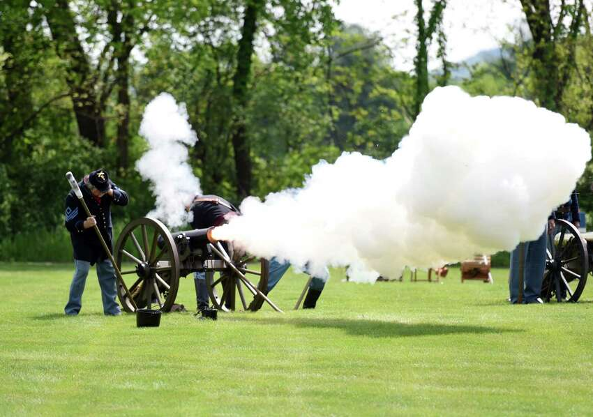 A cannon salute takes place during the Gerald B.H. Solomon Saratoga National Cemetery 20th Annual Memorial Day Ceremony on Saturday, May 25, 2019 at Saratoga National Cemetery in Schuylerville, NY. (Phoebe Sheehan/Times Union)