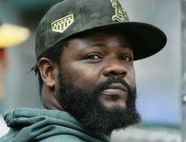 DETROIT, MI - MAY 19:  Fernando Rodney #56 of the Oakland Athletics watches from the dugout during the third inning of a game against the Detroit Tigers at Comerica Park on May 19, 2019 in Detroit, Michigan. Play was suspended in the seventh inning due to rain with Oakland leading 5-3. The game will resume Sept. 6 at Oakland. (Photo by Duane Burleson/Getty Images)