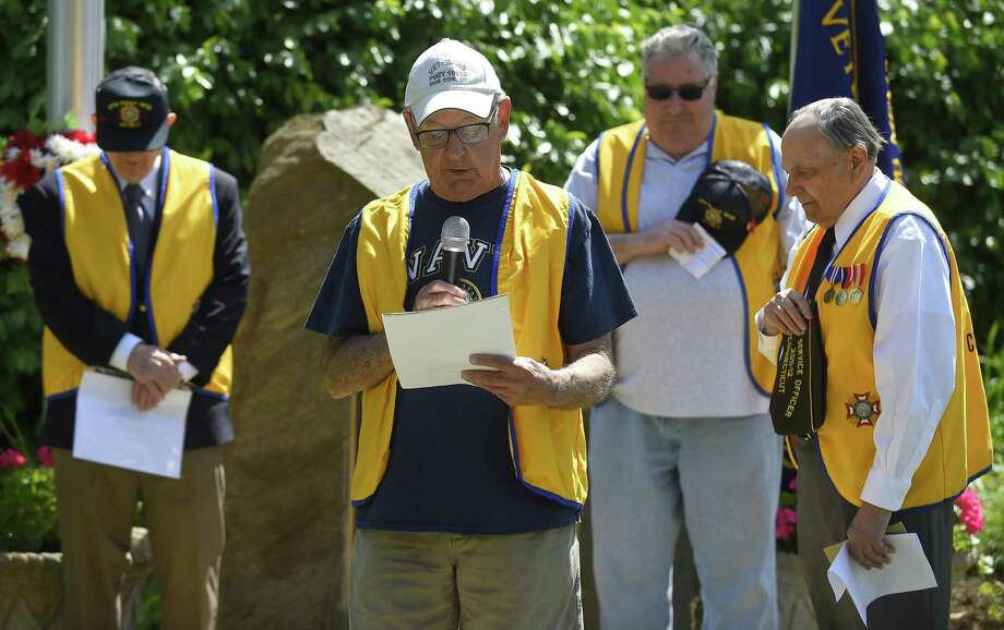 Doc Orrico, quarter master for Cos Cob VFW Post 10112, delivers the convocation during a Memorial Day ceremony at the Veterans of Foreign Wars Memorial on May 25, 2019 in Greenwich, Connecticut. The event was hosted by the Cos Cob VFW Post 10112. Photo: Matthew Brown / Hearst Connecticut Media / Stamford Advocate