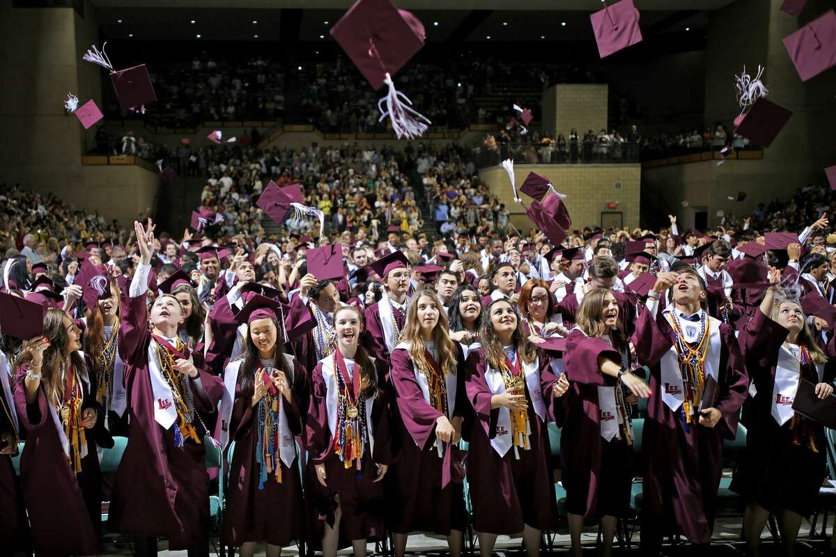 Lee High School graduates celebrate during the commencement ceremony May 25, 2019 at Chaparral Center. James Durbin/Reporter-Telegram
