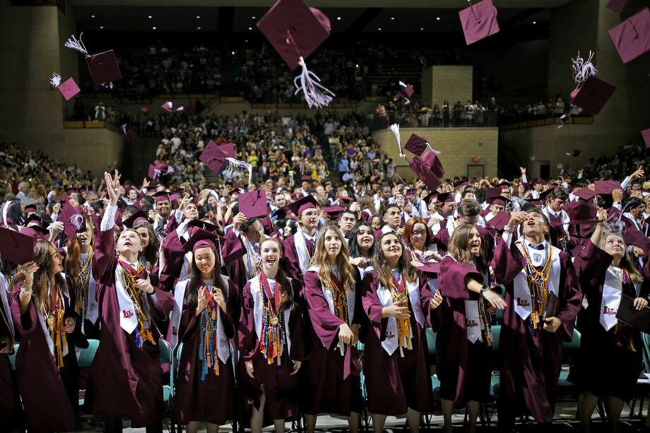 Lee High School graduates celebrate during the commencement ceremony May 25, 2019 at Chaparral Center. James Durbin/Reporter-Telegram Photo: James Durbin / Midland Reporter-