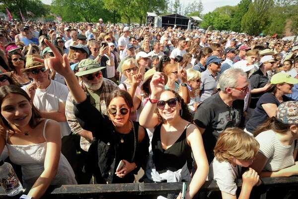Fans of The Beach Boys take in their performance during the Greenwich Town Party all day musical event at Roger Sherman Baldwin Park on May 25, 2019 in Greenwich, Connecticut.
