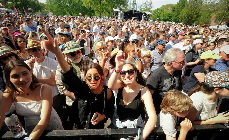 Fans of The Beach Boys take in their performance during the Greenwich Town Party all day musical event at Roger Sherman Baldwin Park on May 25, 2019 in Greenwich, Connecticut. Photo: Matthew Brown, Hearst Connecticut Media / Stamford Advocate Contributed