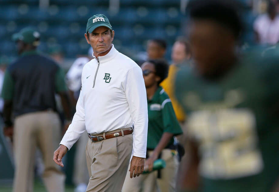 FILE - In this Sept. 12, 2015, file photo, Baylor coach Art Briles walks the field before the NCAA college football team's game against Lamar in Waco, Texas. Briles, the former Baylor football coach fired three years ago after an investigation found the school had mishandled allegations of sexual misconduct and violence, has been hired to lead an East Texas high school program. Mount Vernon Superintendent says its board of trustees has approved a two-year contract with Briles, who was 65-37 in eight seasons with Baylor. Before coaching in college, Briles had a successful 20-year career as a high school coach in Texas. (AP Photo/LM Otero, File) Photo: LM Otero,  Associated Press