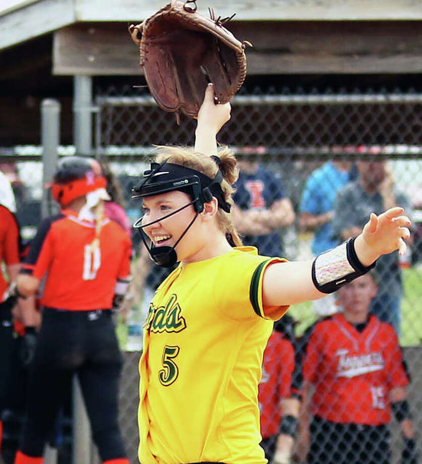 Southwestern pitcher Bailee Nixon reacts after the final out in her three-hit shutout of Hillsboro in the championship game of the Litchfield Class 2A Sectional on Saturday morning. Photo: Greg Shashack | The Telegraph