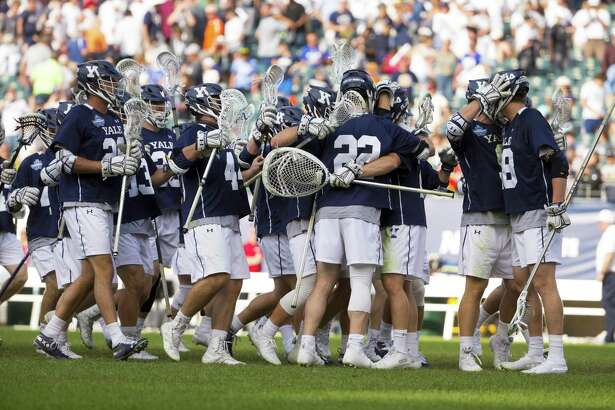 Yale players celebrate after defeating the Penn State on Saturday in Philadelphia.