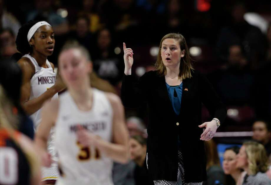 FILE - In this Jan. 6, 2019, file photo, Minnesota coach Lindsay Whalen gestures during the team's NCAA college basketball game against Illinois in Minneapolis. Whalen's team got off to a perfect start, winning all 11 non-conference games and earning a Top 25 ranking. Then Big Ten play set in and the Golden Gophers struggled, losing seven of their first nine games in the conference. Losing games helped give Whalen a better perspective of what it took to be a good coach. (AP Photo/Andy Clayton-King, File) Photo: Andy Clayton-King / Copyright 2019 The Associated Press. All rights reserved.