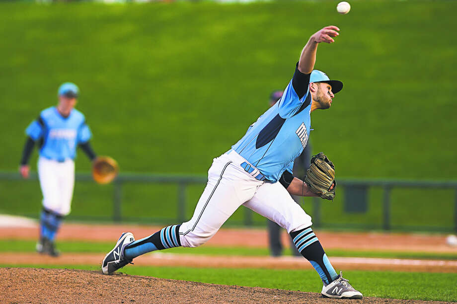 Meridian's Hunter Merillat throws a pitch against St. Charles at Dow Diamond in this May 20, 2019 file photo. Photo: Katykildee/kildee@mdn.net