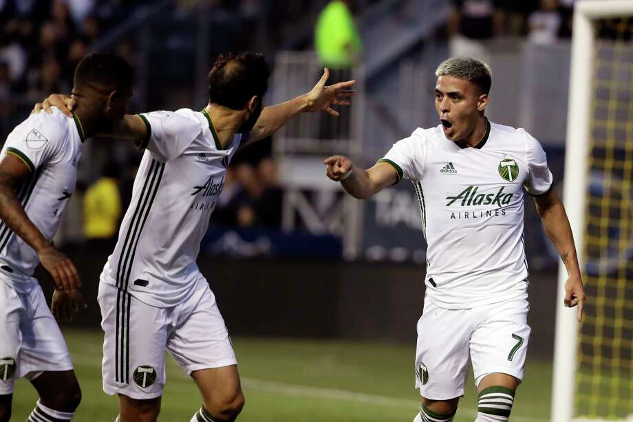 Portland Timbers' Brian Fernandez, right, reacts after scoring a goal during the first half of an MLS soccer match against the Philadelphia Union in Chester, Pa., Saturday, May 25, 2019. (AP Photo/Matt Rourke) Photo: Matt Rourke / Copyright 2019 The Associated Press. All rights reserved.