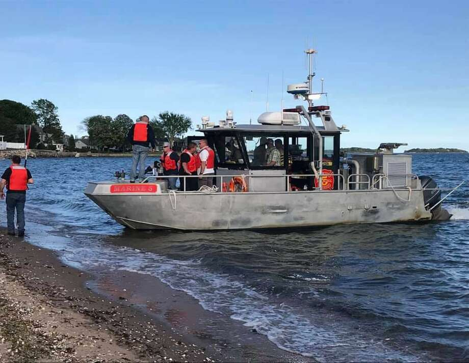 Three kayakers were rescued on Sunday, May 26, 2019 off the Long Island Sound in Branford when high winds and strong currents prevented them from reaching the shore. Photo: Contributed Photo / Contributed / The News-Times Contributed