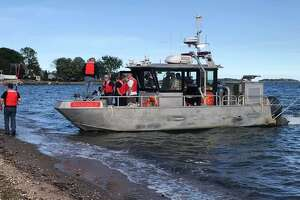 Three kayakers were rescued on Sunday, May 26, 2019 off the Long Island Sound in Branford when high winds and strong currents prevented them from reaching the shore.