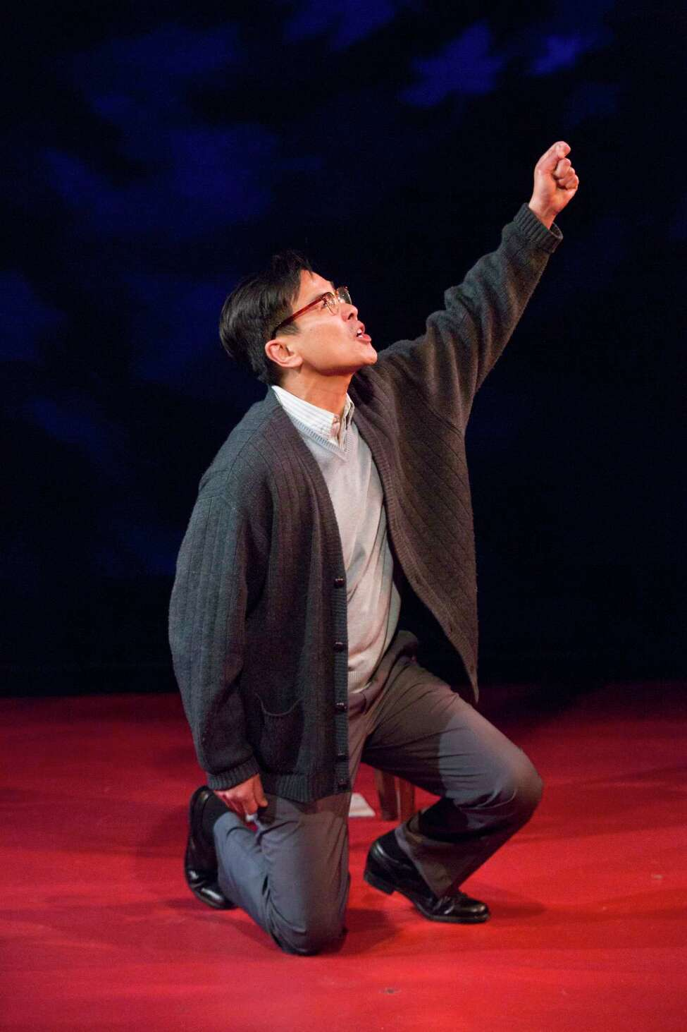 "Joel de la Fuente stars in the one-man play ""Hold These Truths"" at Barrington Stage Company. (BSC publicity photo by Scott Barrow.)"