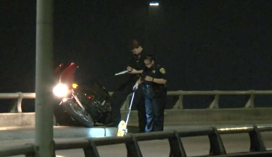 Houston police investigate a fatal motorcycle crash on Will Clayton Parkway near JFK on Sunday, May 26, 2019. Photo: Metro Video