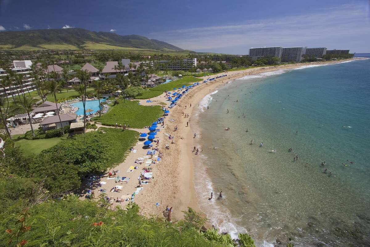 Kaanapali Beach and the West Maui Mountains in Hawaii.