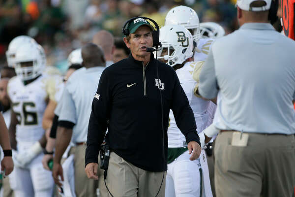 Baylor head coach Art Briles watches from the sideline during the first half of an NCAA college football game against SMU Friday, Sept. 4, 2015, in Dallas. (AP Photo/LM Otero)