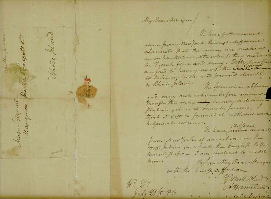 "A letter from Alexander Hamilton to the Marquis de Lafayette referring to ""The General,"" George Washington, dated July 21, 1780, reports the enemy is making its way to Rhode Island to ""menace"" the French fleet. Photo: The Potomack Company / The Potomack Company"