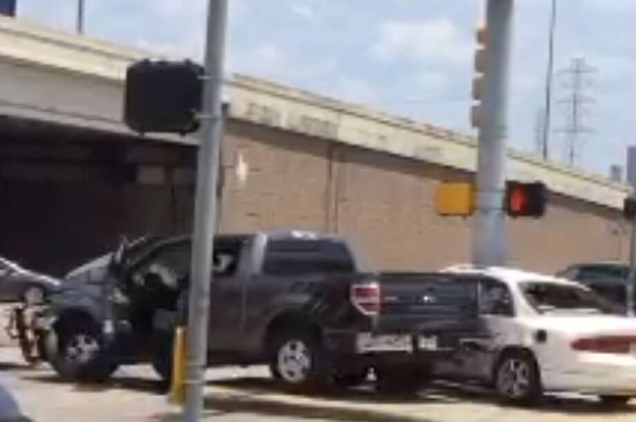A man accused of hitting a Houston police officer conducting seat belt checks soon collided with two other vehicles on Sunday, May 26, 2019. Photo: Houston Police Department