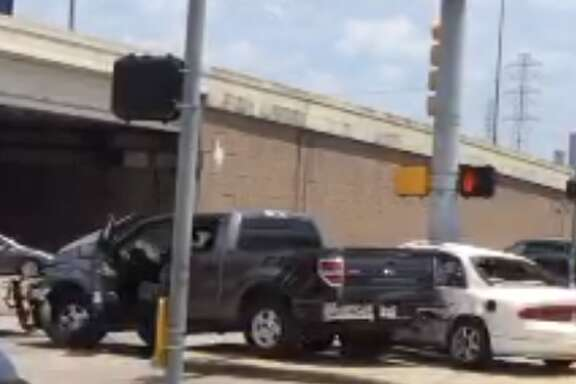 A man accused of hitting a Houston police officer conducting seat belt checks soon collided with two other vehicles on Sunday, May 26, 2019.
