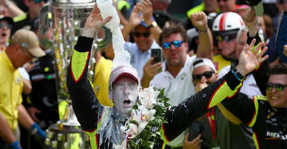 INDIANAPOLIS, INDIANA - MAY 26: Simon Pagenaud of France, driver of the #22 Team Penske Chevrolet celebrates winning the 103rd Indianapolis 500 at Indianapolis Motor Speedway on May 26, 2019 in Indianapolis, Indiana. (Photo by Clive Rose/Getty Images) Photo: Clive Rose/Getty Images