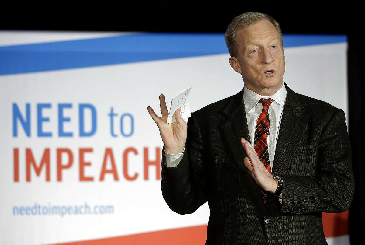 """FILE - In this March 13, 2019, photo, billionaire investor and Democratic activist Tom Steyer speaks during a """"Need to Impeach"""" town hall event in Agawam, Mass. Steyer claims that President Donald Trump meets the criteria for impeachment. Rising disagreement among congressional Democrats over whether to pursue impeachment of President Donald Trump has had little effect on the party's presidential candidates, who mostly are avoiding calls to start such an inquiry. (AP Photo/Steven Senne, File)"""