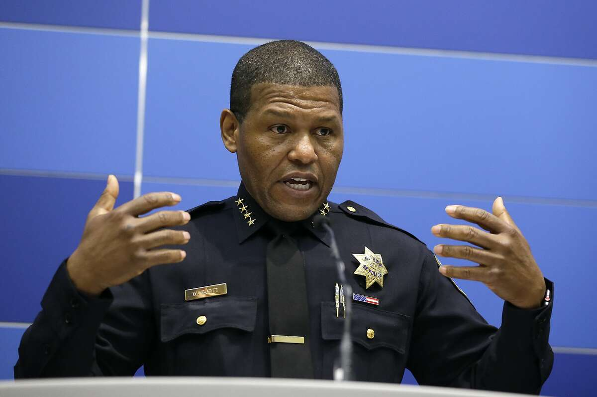 San Francisco Chief of Police William Scott answers questions during a news conference Tuesday, May 21, 2019, in San Francisco. Police agreed Tuesday to return property seized from a San Francisco journalist in a raid, but the decision did little to ease tensions in the case, which has alarmed journalism advocates and put pressure on city leaders. Authorities have said the May 10 raids on freelancer Bryan Carmody's home and office were part of an investigation into what police called the illegal leak of a report on the death of former Public Defender Jeff Adachi, who died unexpectedly in February.(AP Photo/Eric Risberg)