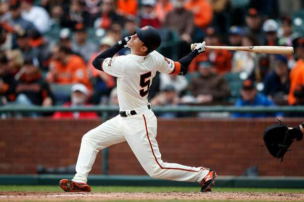 SAN FRANCISCO, CA - MAY 26: Mike Yastrzemski #5 of the San Francisco Giants hits a single for his first Major League hit during the second inning against the Arizona Diamondbacks at Oracle Park on May 26, 2019 in San Francisco, California. (Photo by Jason O. Watson/Getty Images)