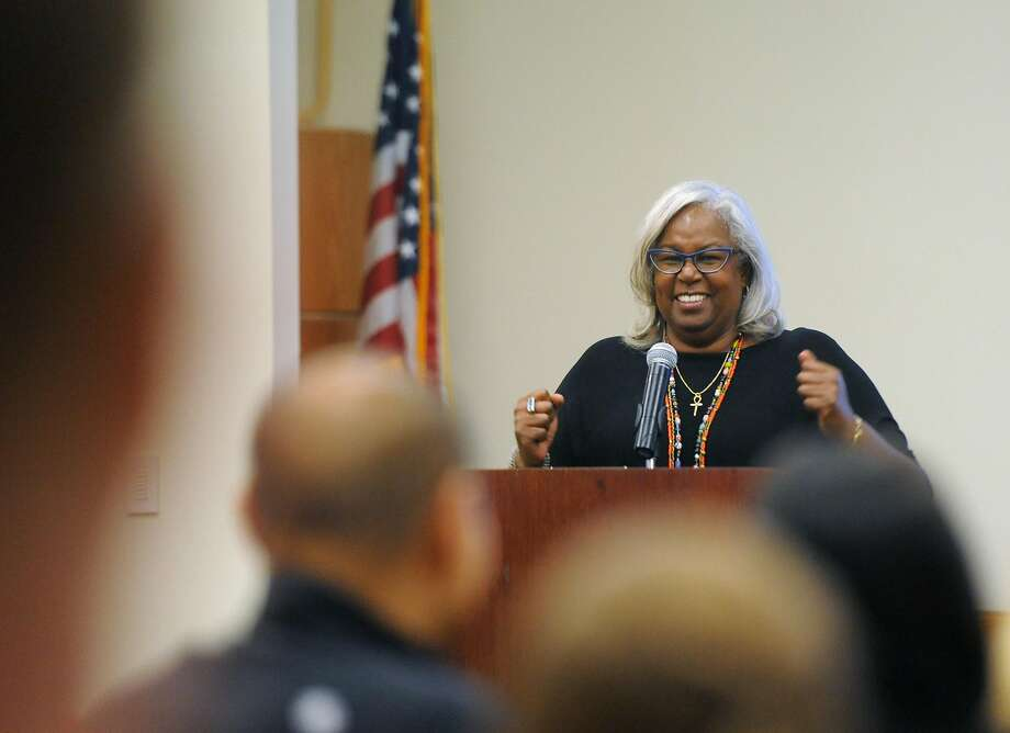 "Author and activist Sharon Robinson, the daughter of baseball legend Jackie Robinson, speaks at the annual Jeanne Rinehart Family Program at the Ferguson Library in Stamford, Conn. Sunday, Nov. 6, 2016. Robinson recently published a book ""The Hero Two Doors Down,"" based on the true story of a Brooklyn boy who became neighbors and friends with Jackie Robinson. Photo: Tyler Sizemore / Hearst Connecticut Media"