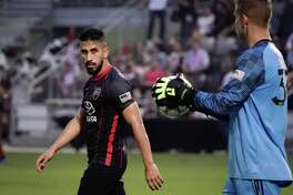Ever Guzman, left, scored San Antonio FC's only goal during the team's fifth straight road loss on Saturday, a 3-1 defeat at Rio Grande Valley FC in Edinburg.