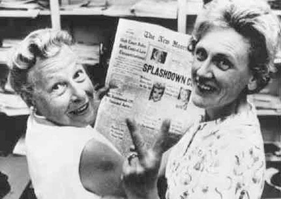 Estelle Griswold, left, and clinic co-worker Cornelia Jahncke celebrate the 1965 Supreme Court decision, Griswold vs. Connecticut, that legalized contraceptive use. Photo: Courtesy Of Planned Parenthood