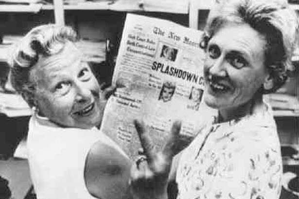 Estelle Griswold, left, and clinic co-worker Cornelia Jahncke celebrate the 1965 Supreme Court decision, Griswold vs. Connecticut, that legalized contraceptive use.