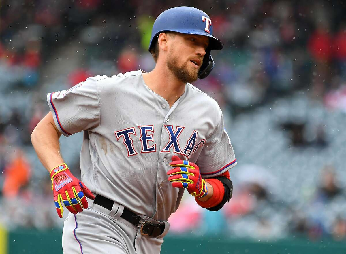 ANAHEIM, CA - MAY 26: Hunter Pence #24 of the Texas Rangers rounds the bases after hitting a solo home run in the fourth inning of the game against the Los Angeles Angels of Anaheim at Angel Stadium of Anaheim on May 26, 2019 in Anaheim, California. (Photo by Jayne Kamin-Oncea/Getty Images)