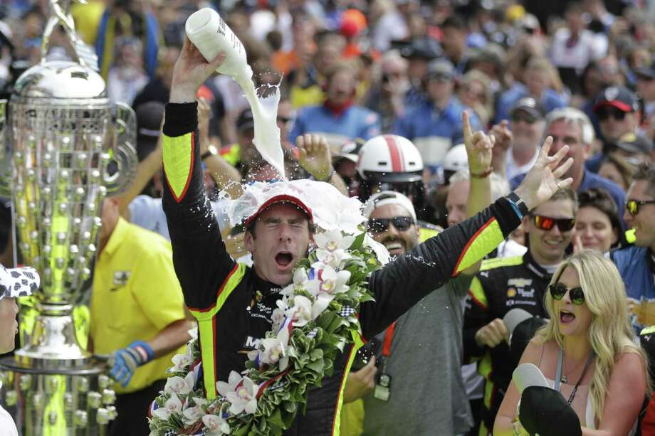 Simon Pagenaud, of France, celebrates after winning the Indianapolis 500 IndyCar auto race at Indianapolis Motor Speedway, Sunday, May 26, 2019, in Indianapolis. (AP Photo/Darron Cummings) Photo: Darron Cummings / Associated Press / Copyright 2019 The Associated Press. All rights reserved.