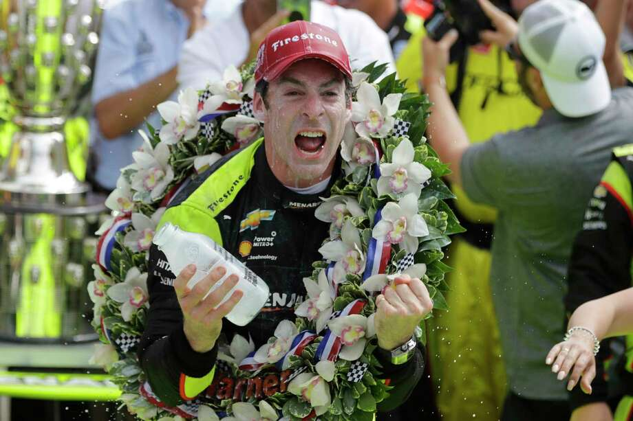 Simon Pagenaud, of France, celebrates after winning the Indianapolis 500 IndyCar auto race at Indianapolis Motor Speedway, Sunday, May 26, 2019, in Indianapolis. (AP Photo/Darron Cummings) Photo: Darron Cummings / Copyright 2019 The Associated Press. All rights reserved.