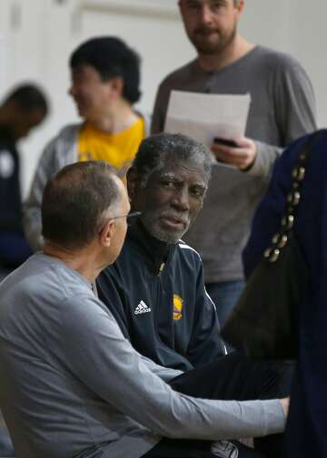 d91858da0c1 3of5Legendary Golden State Warriors head coach Alvin Attles (right) meets  with assistant coach Ron Adams during a practice session in Oakland.