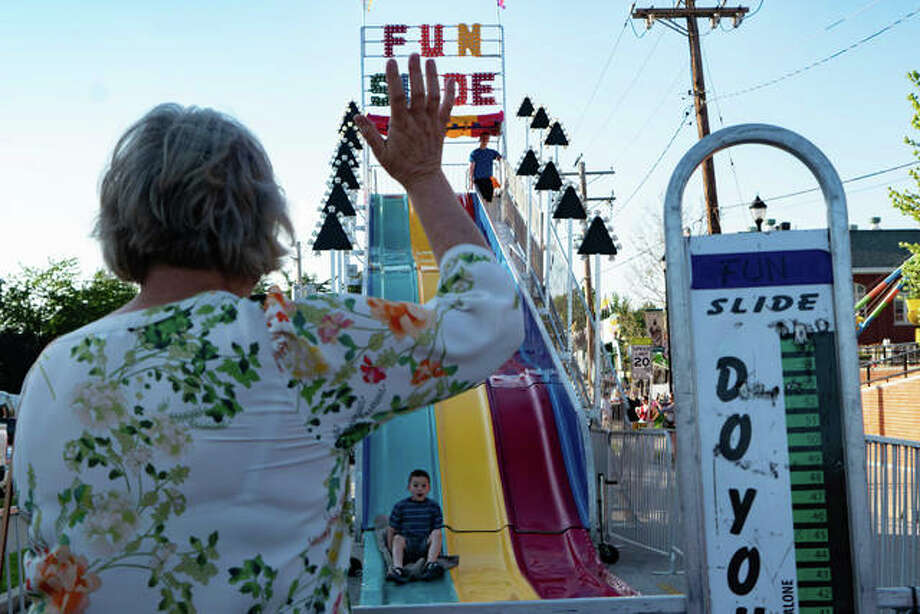 Roads were closed and parking lots were filled with carnival rides and games Friday night for the 35th annual Bonifest celebration. Photo: Breanna Booker | The Intelligencer