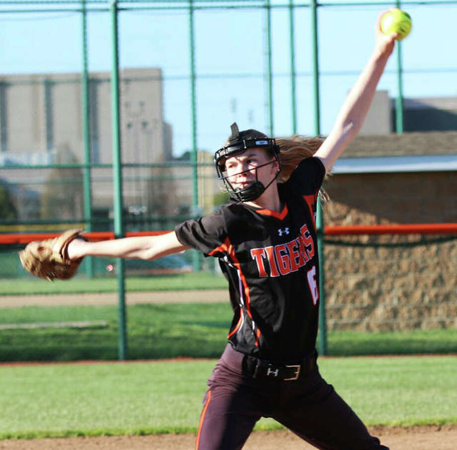 Edwardsville freshman Ryleigh Owens deliveres a pitch during a game earlier this season in Edwardsville. The Tigers open Class 4A sectional play Tuesday vs. O'Fallon at Belleville East. Photo: Greg Shashack / The Telegraph