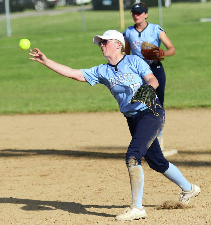 Jersey second baseman Lauren Rexing throws out a runner at first base Friday in the championship game of the Jerseyville Class 3A Regional. The Panthers play Centralia on Tuesday in the Carterville Sectional. Photo: Greg Shashack / The Telegraph